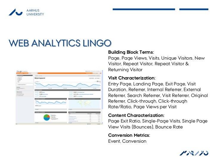 AARHUS   UNIVERSITYWEB ANALYTICS LINGO                  Building Block Terms:                  Page, Page Views, Visits, U...