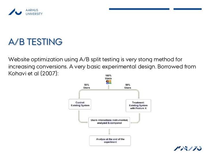 AARHUS      UNIVERSITYA/B TESTINGWebsite optimization using A/B split testing is very stong method forincreasing conversio...