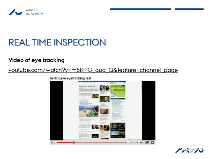 AARHUS      UNIVERSITYREAL TIME INSPECTIONVideo of eye trackingyoutube.com/watch?v=m58MG_aua_Q&feature=channel_page       ...