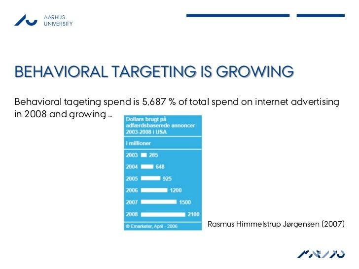 AARHUS      UNIVERSITYBEHAVIORAL TARGETING IS GROWINGBehavioral tageting spend is 5,687 % of total spend on internet adver...