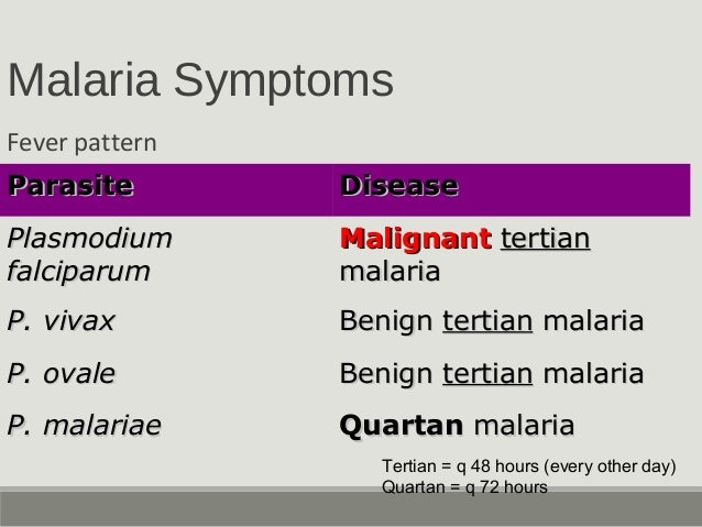 Malaria Symptoms Fever pattern ParasiteParasite DiseaseDisease PlasmodiumPlasmodium falciparumfalciparum MalignantMalignan...