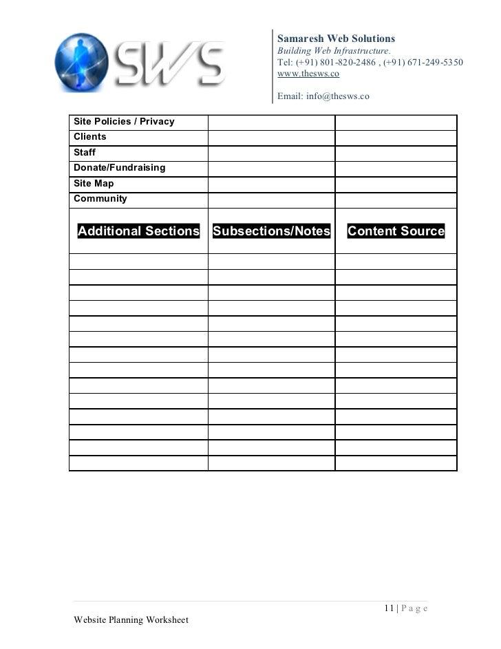 Website Planning Sheet – Website Planning Worksheet