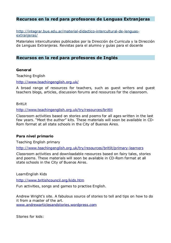 Recursos en la red para profesores de Lenguas Extranjerashttp://integrar.bue.edu.ar/material-didactico-intercultural-de-le...