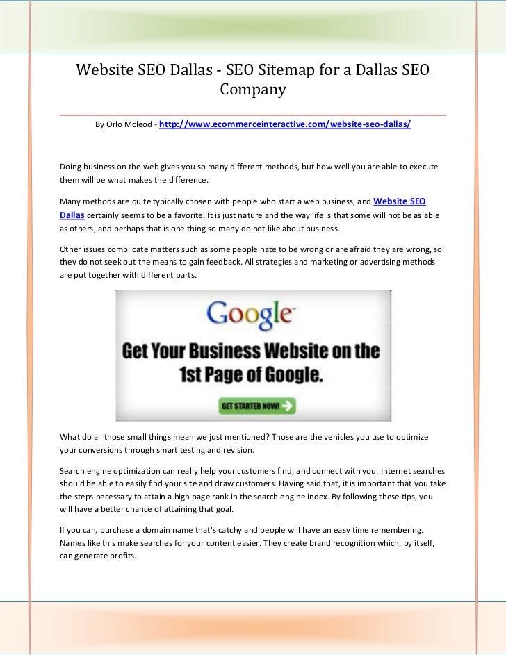 Website SEO Dallas - SEO Sitemap for a Dallas SEO                          Company________________________________________...