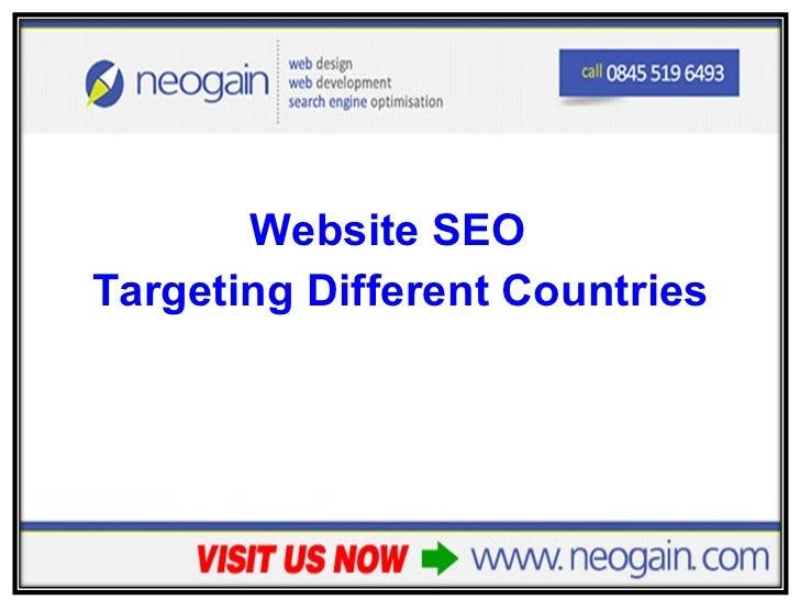 <ul><li>Website SEO   </li></ul><ul><li>Targeting Different Countries </li></ul>