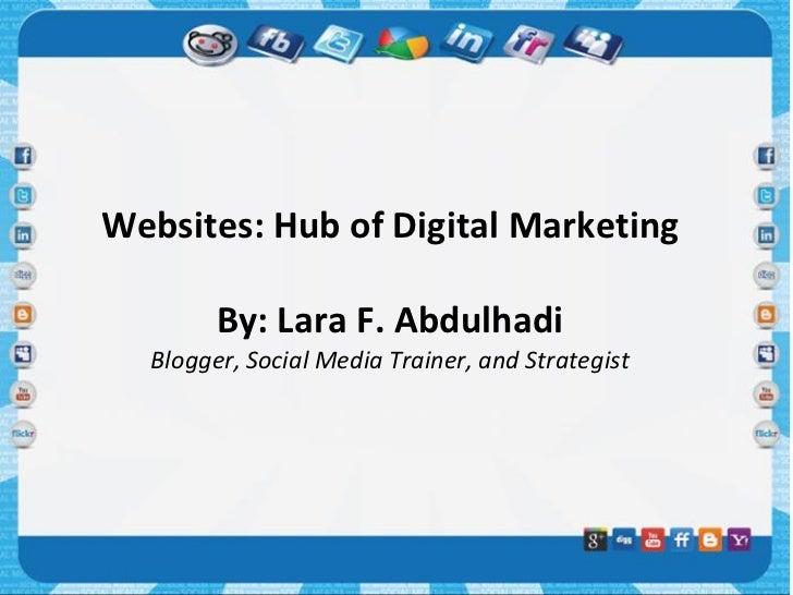 Websites: Hub of Digital Marketing        By: Lara F. Abdulhadi  Blogger, Social Media Trainer, and Strategist