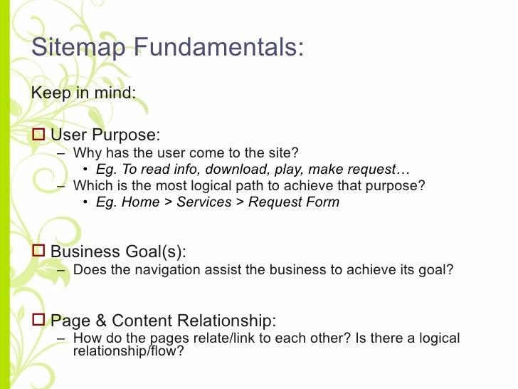 Sitemap Fundamentals: <ul><li>Keep in mind: </li></ul><ul><li>User Purpose: </li></ul><ul><ul><li>Why has the user come to...