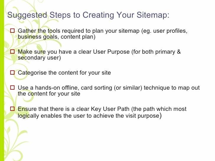 <ul><li>Gather the tools required to plan your sitemap (eg. user profiles, business goals, content plan) </li></ul><ul><li...