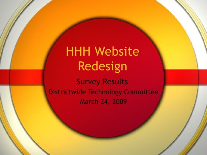 HHH Website Redesign Survey Results  Districtwide Technology Committee March 24, 2009