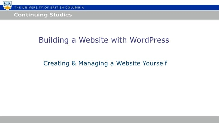 Building a Website with WordPress Creating & Managing a Website Yourself