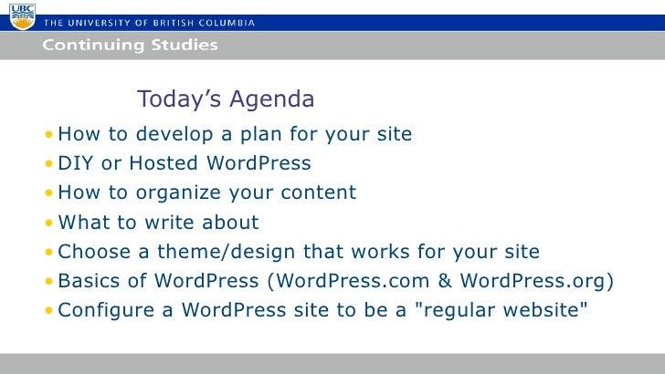 Building Websites with WordPress UBC Summer 2012 Slide 2