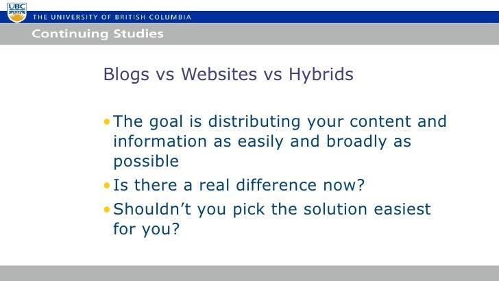 Building Websites with WordPress UBC Summer 2012 Slide 3