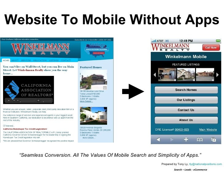 """Website To Mobile Without Apps """" Seamless Conversion. All The Power Of Mobile Search and Simplicities of Apps."""" Prepared b..."""