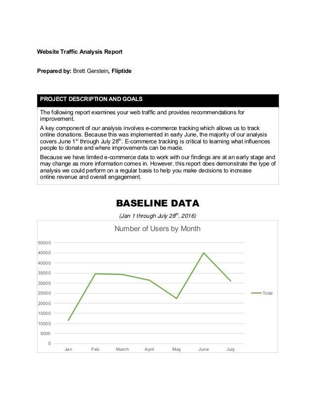 Website Traffic Analysis Report Prepared by: Brett Gerstein, Fliptide BASELINE DATA (Jan 1 through July 28th , 2016) PROJE...