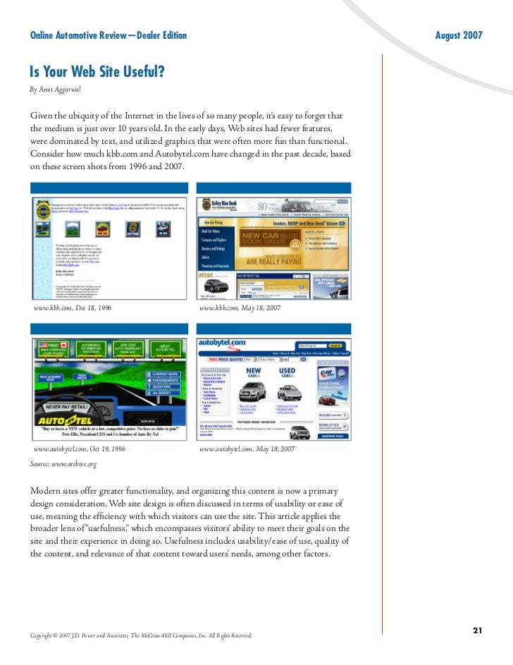 Online Automotive Review—Dealer Edition                                                                    August 2007   I...