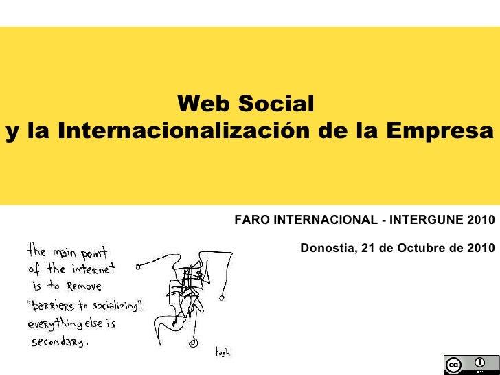 Web Social  y la Internacionalización de la Empresa FARO INTERNACIONAL - INTERGUNE 2010 Donostia, 21 de Octubre de 2010