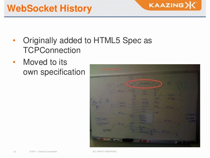 WebSocket History • Originally added to HTML5 Spec as   TCPConnection • Moved to its   own specification 27   © 2011 – Kaa...