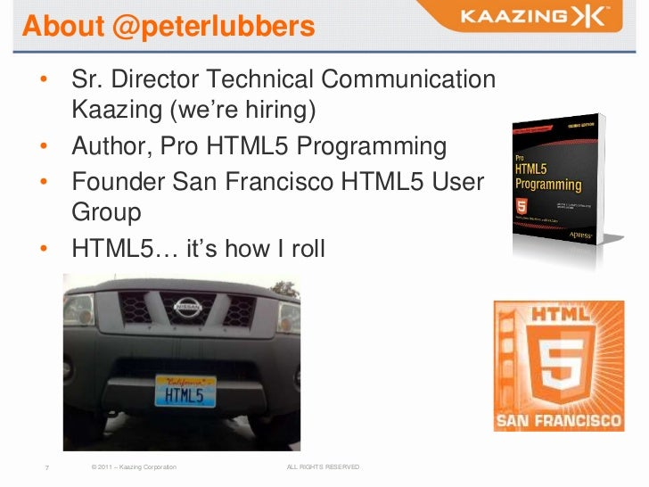 About @peterlubbers • Sr. Director Technical Communication   Kaazing (we're hiring) • Author, Pro HTML5 Programming • Foun...