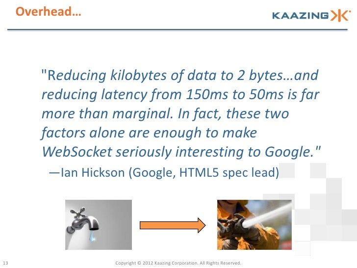 """Overhead…        """"Reducing kilobytes of data to 2 bytes…and        reducing latency from 150ms to 50ms is far        more ..."""