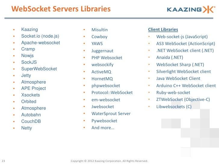 WebSocket Servers Libraries        Kaazing                        •     Misultin                                      Cli...