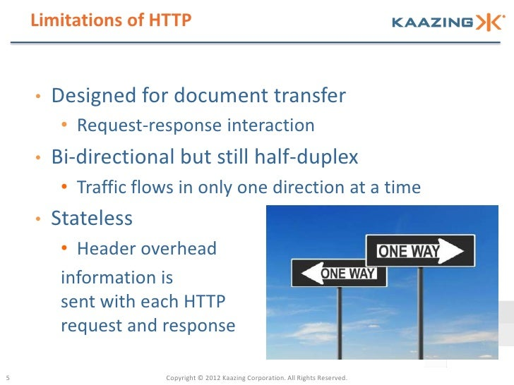 Limitations of HTTP    •   Designed for document transfer         • Request-response interaction    •   Bi-directional but...