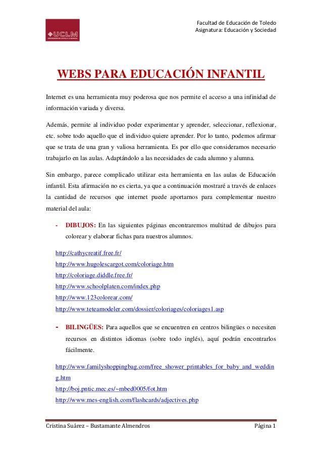 Facultad de Educación de Toledo                                                           Asignatura: Educación y Sociedad...