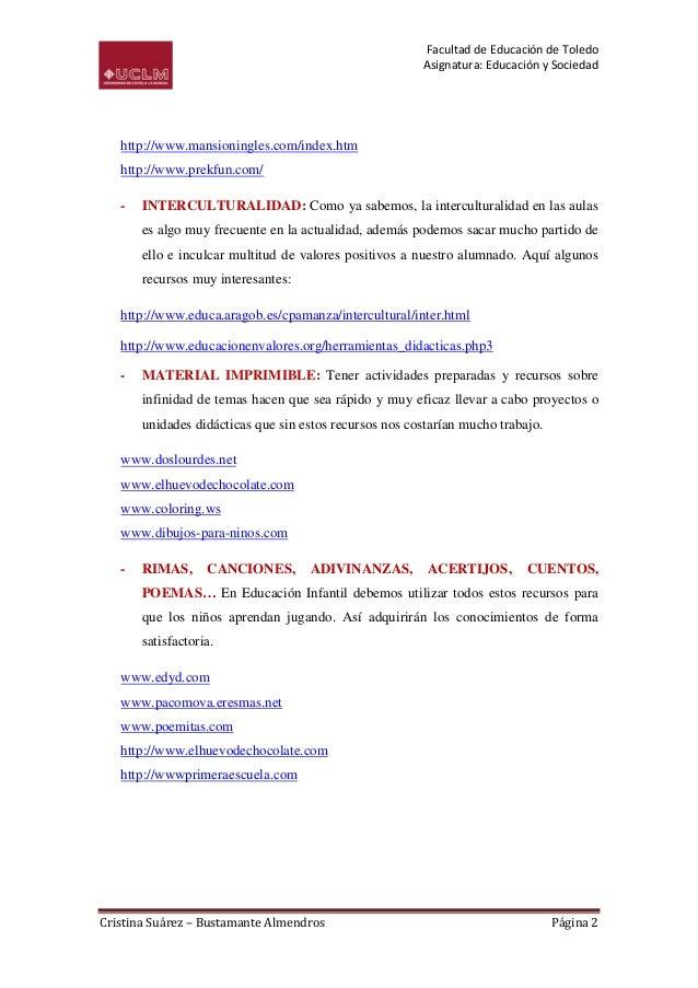 Facultad de Educación de Toledo                                                        Asignatura: Educación y Sociedad   ...
