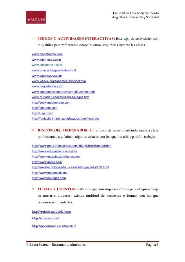 Facultad de Educación de Toledo                                                                Asignatura: Educación y Soc...