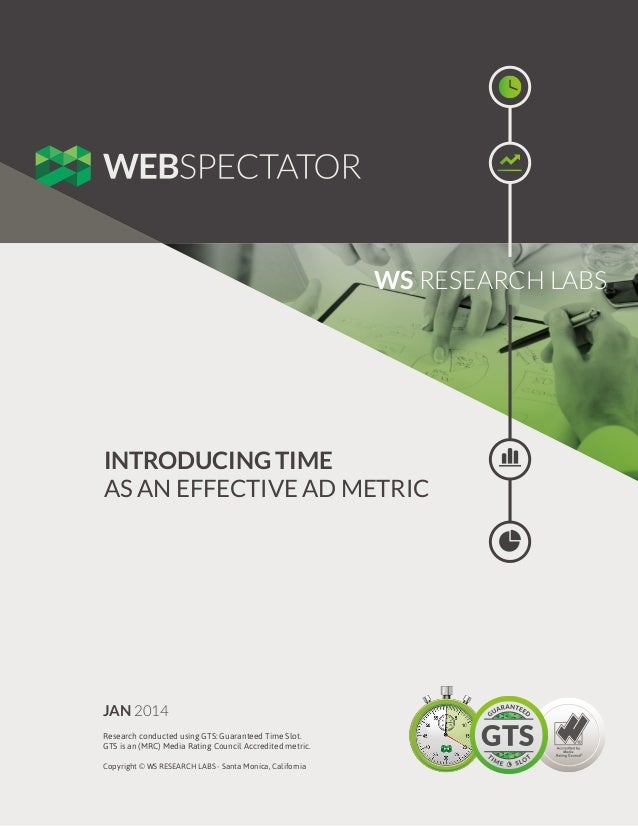 WS RESEARCH LABS  INTRODUCING TIME AS AN EFFECTIVE AD METRIC  JAN 2014 Research conducted using GTS: Guaranteed Time Slot....