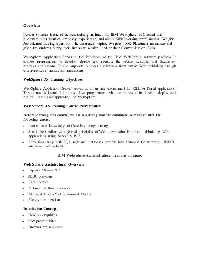 Websphere Certification in Chennai