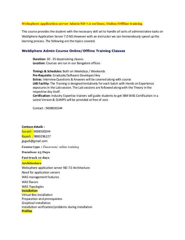 Websphere application server admin nd 7.0 on linux, online offline tr…