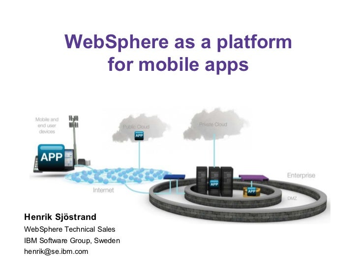 WebSphere as a platform              for mobile appsHenrik SjöstrandWebSphere Technical SalesIBM Software Group, Swedenhen...