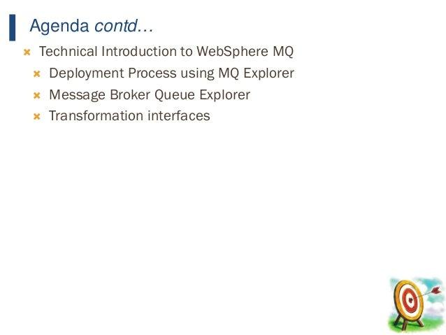 12 Agenda contd…  Technical Introduction to WebSphere MQ  Deployment Process using MQ Explorer  Message Broker Queue Ex...