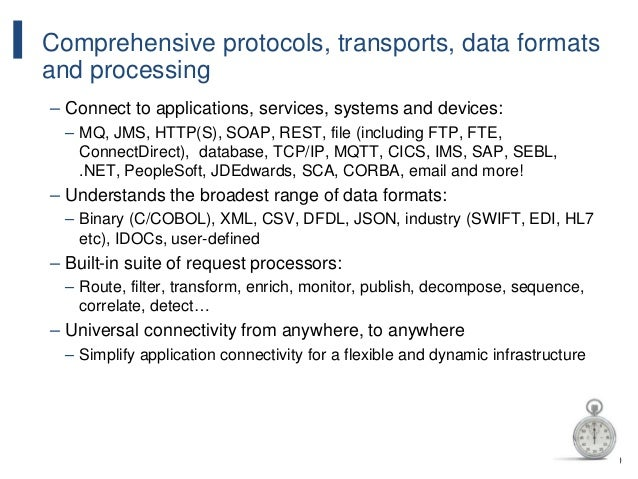 130 Comprehensive protocols, transports, data formats and processing – Connect to applications, services, systems and devi...