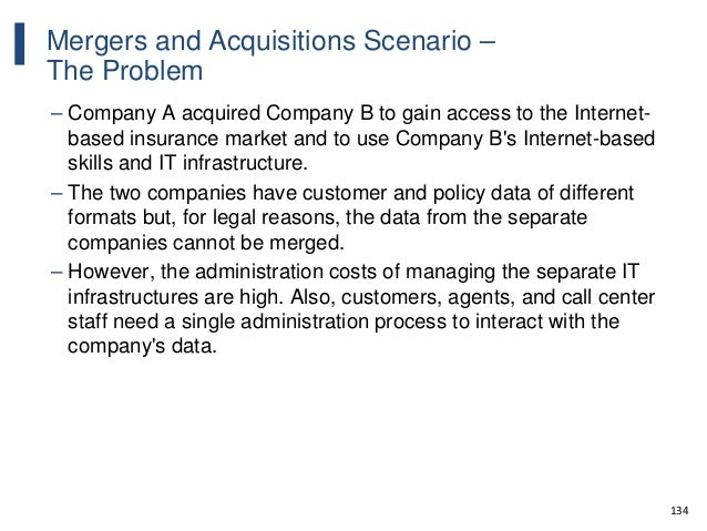 134 Mergers and Acquisitions Scenario – The Problem – Company A acquired Company B to gain access to the Internet- based i...