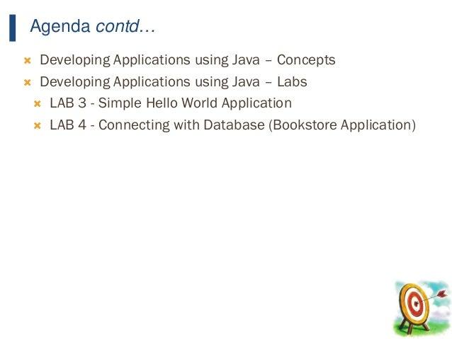 15 Agenda contd…  Developing Applications using Java – Concepts  Developing Applications using Java – Labs  LAB 3 - Sim...