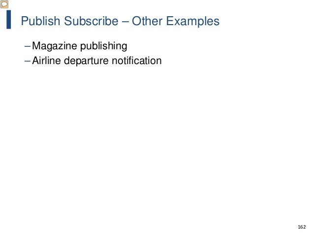 162 Publish Subscribe – Other Examples – Magazine publishing – Airline departure notification