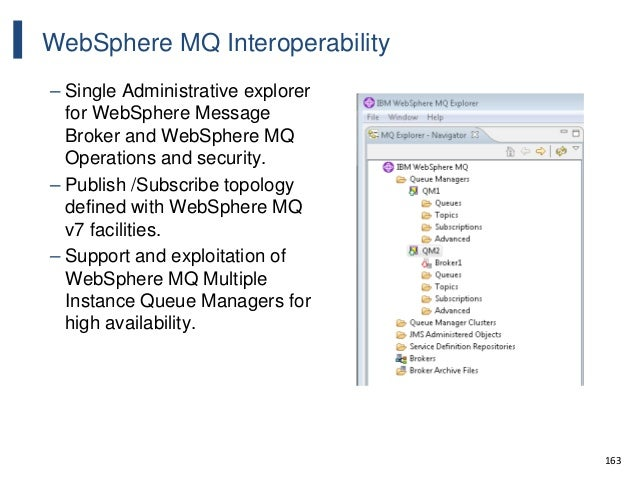 163 WebSphere MQ Interoperability – Single Administrative explorer for WebSphere Message Broker and WebSphere MQ Operation...