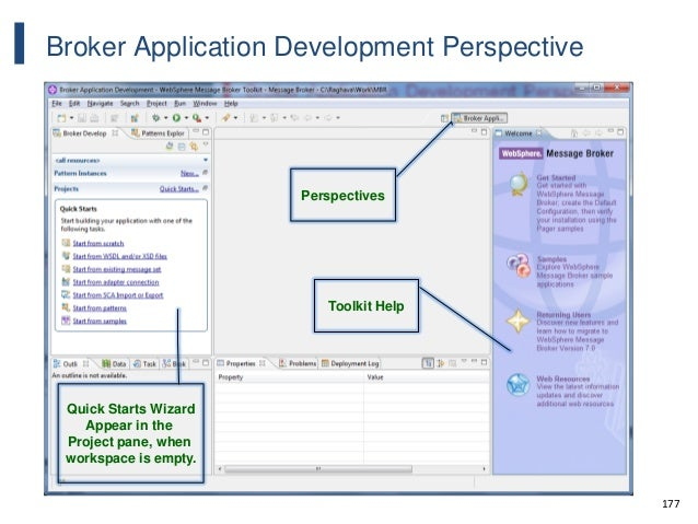 177 Broker Application Development Perspective Toolkit Help Quick Starts Wizard Appear in the Project pane, when workspace...