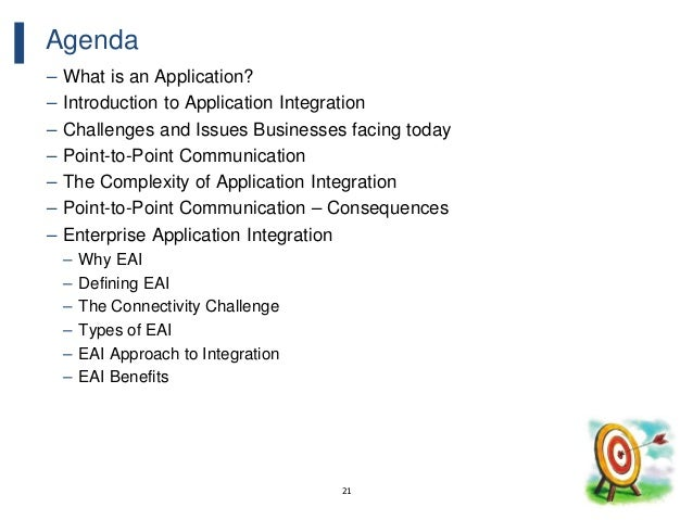 21 Agenda – What is an Application? – Introduction to Application Integration – Challenges and Issues Businesses facing to...
