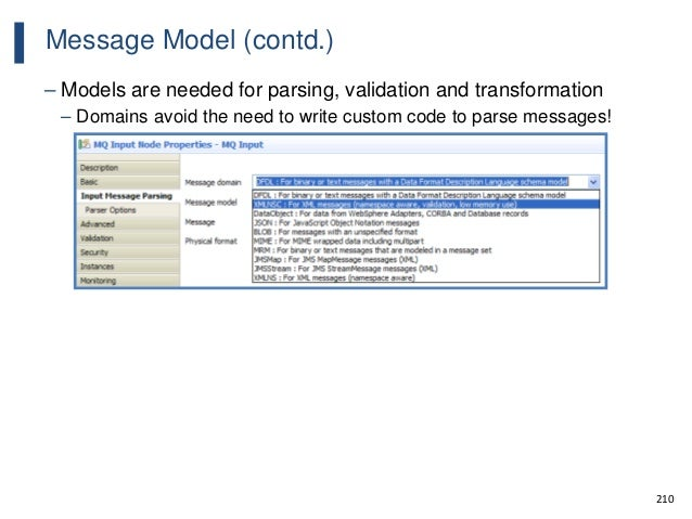 210 Message Model (contd.) – Models are needed for parsing, validation and transformation – Domains avoid the need to writ...