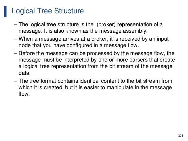 222 Logical Tree Structure – The logical tree structure is the (broker) representation of a message. It is also known as t...