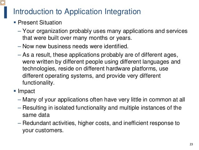 23 Introduction to Application Integration  Present Situation – Your organization probably uses many applications and ser...