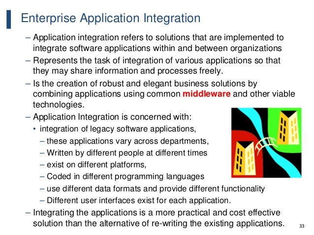 33 Enterprise Application Integration – Application integration refers to solutions that are implemented to integrate soft...