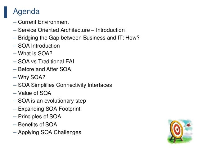 56 Agenda – Current Environment – Service Oriented Architecture – Introduction – Bridging the Gap between Business and IT:...