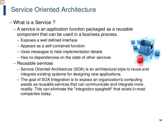 58 Service Oriented Architecture – What is a Service ? – A service is an application function packaged as a reusable compo...
