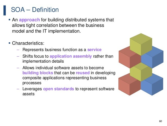 60 SOA – Definition  An approach for building distributed systems that allows tight correlation between the business mode...