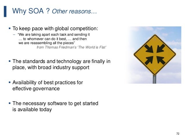 """72 Why SOA ? Other reasons…  To keep pace with global competition: – """"We are taking apart each task and sending it … to w..."""
