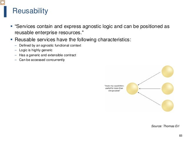 """83 Reusability  """"Services contain and express agnostic logic and can be positioned as reusable enterprise resources.""""  R..."""