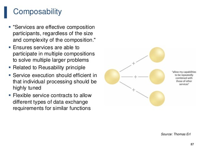 """87 Composability  """"Services are effective composition participants, regardless of the size and complexity of the composit..."""